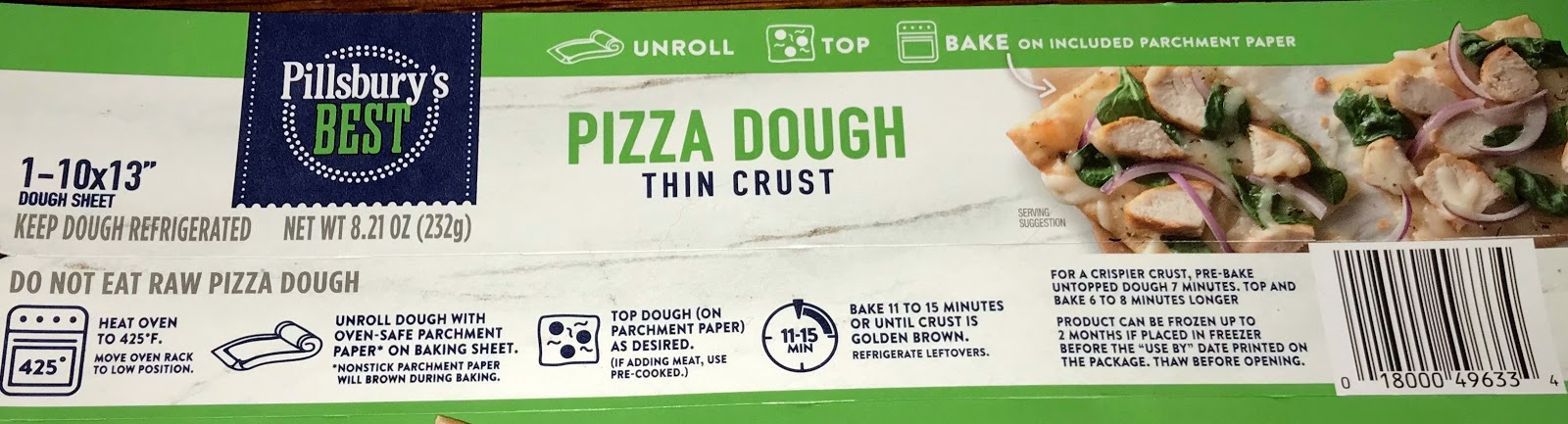 pillsbury thin crust pizza dough instructions